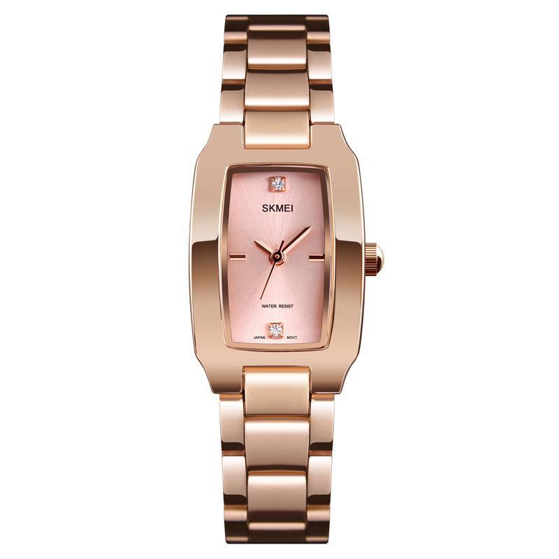 Frauen-Quarz-Uhr Strass eingelegtes Rechteck Dial Armbanduhr mit Stahlband LXH