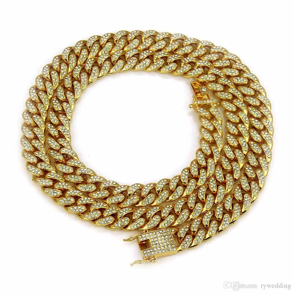 хип-хоп мужчины ожерелье роскошного ювелирная Майами Куба Сеть с алмазным дизайнером ожерельем Позолоченного серебряной Occident браслет панк стиль