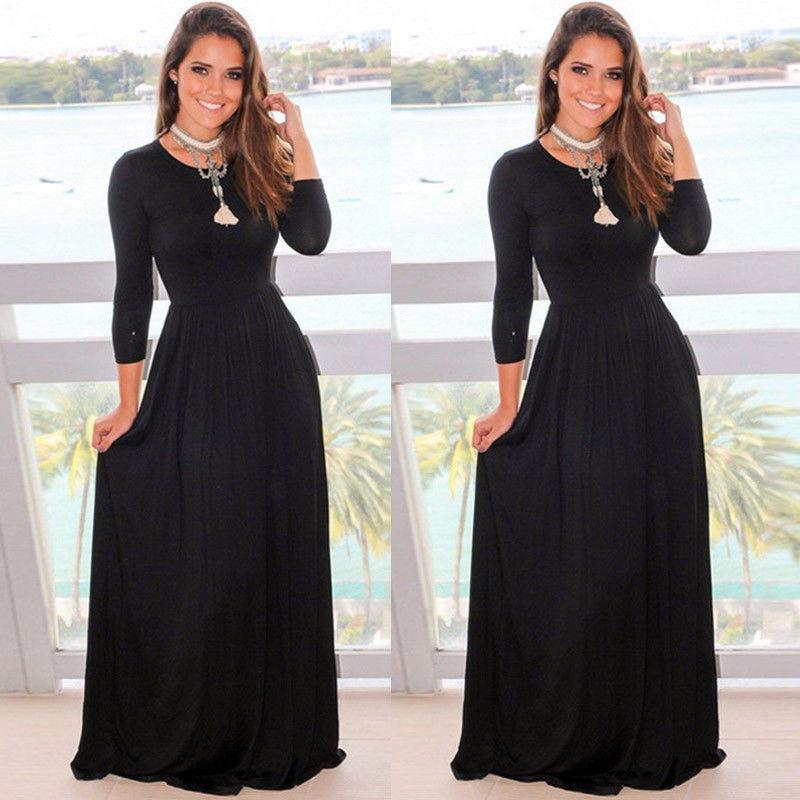 2017 Mode Automne Femmes Robe manches longues O-cou noir parole longueur Robes