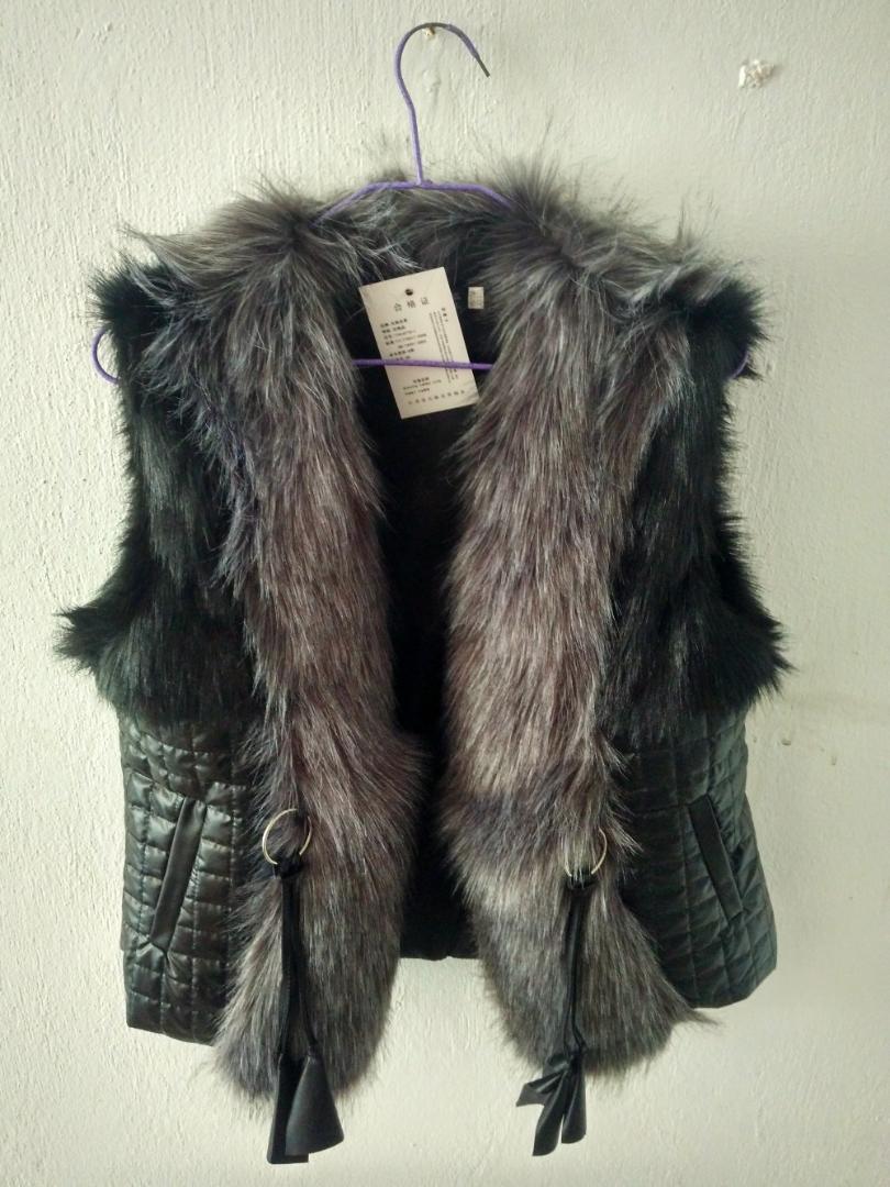 S / Donne 5XL sticthing casuale breve Man-Made gilet di pelliccia Patchwork Plus Size cappotto di cuoio femminile Faux Fur Vest Gilet K275