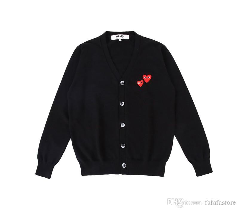 Melhor Qualidade Com Des Garcons Coração FERIADO Coração Emoji PLAY C218-3-Preto-V-pescoço Botão de lã Cardigan Sweater