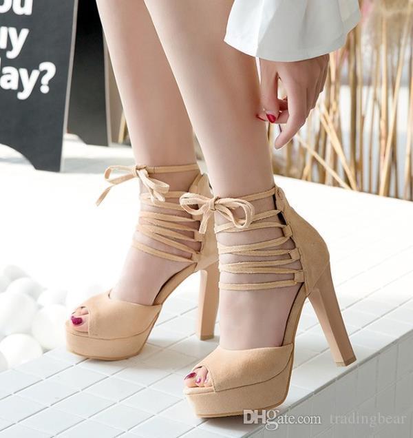 tamanho pequeno Big 31 32 33 a 40 41 42 43 Sexy rendas até tornozelo envoltório pio plataforma toe de salto alto mulheres designer sapatos bege cinza preto