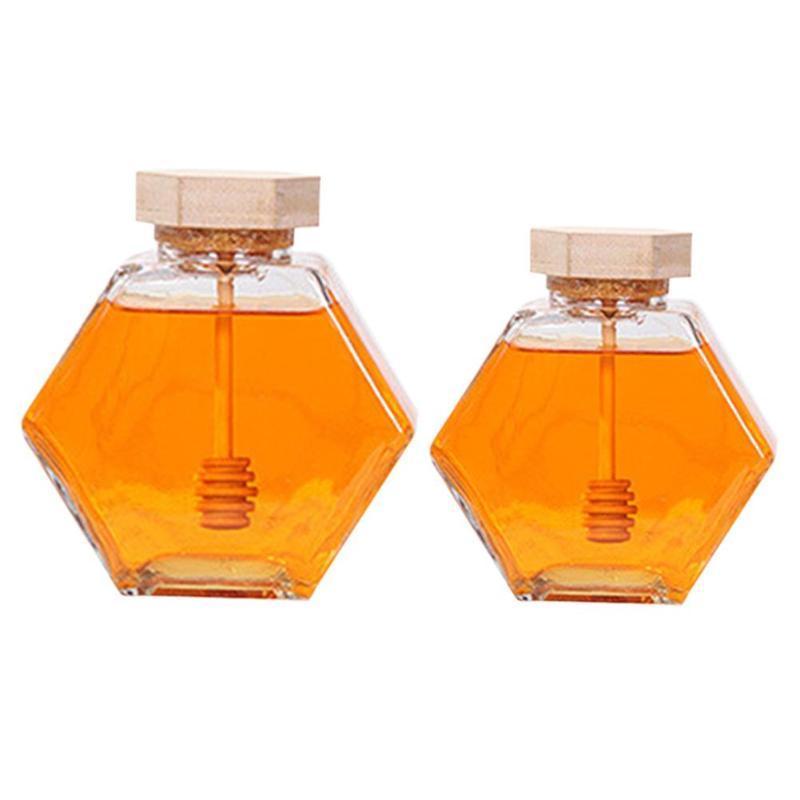 220ML / 380ml en verre de miel Pot Bouteille Hexagonal Miel Pot Contenance avec une cuillère en bois bâton Bouteille d'emballage