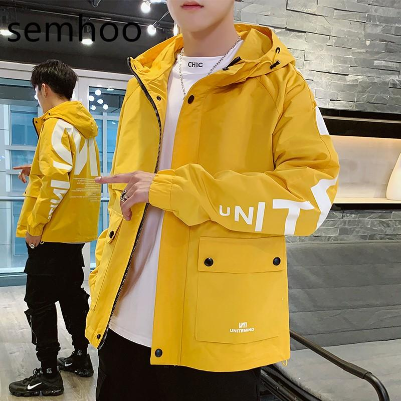 2020 men's autumn spring coats explosion model long sleeves with hats casual fashion new with alphabet korean version of jackets