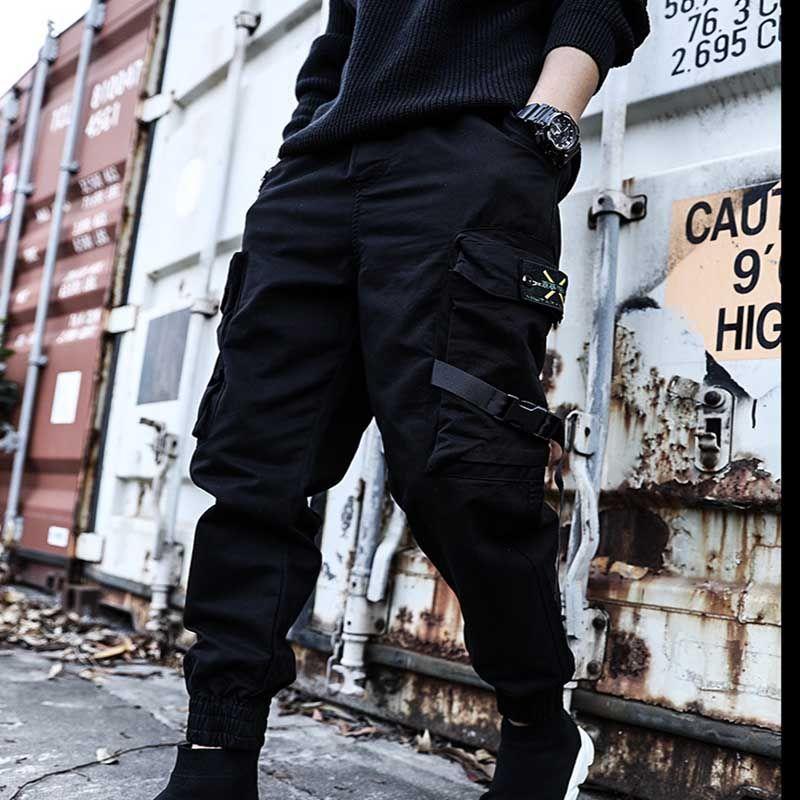 Black Cargo Pants Cotton Hip Hop Boy Multi-pocket Elastic Waist Design Harem Pant Men Streetwear Punk Casual Trousers Jogger Male Sweatpants