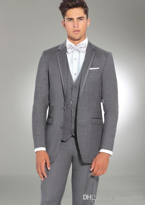 새 스타일 두 단추 회색 웨딩 신랑 턱시도 노치 옷깃 신랑 맨 남성용 복장 프로모션 블레이저 (자켓 + 바지 + 조끼 + 타이) 151