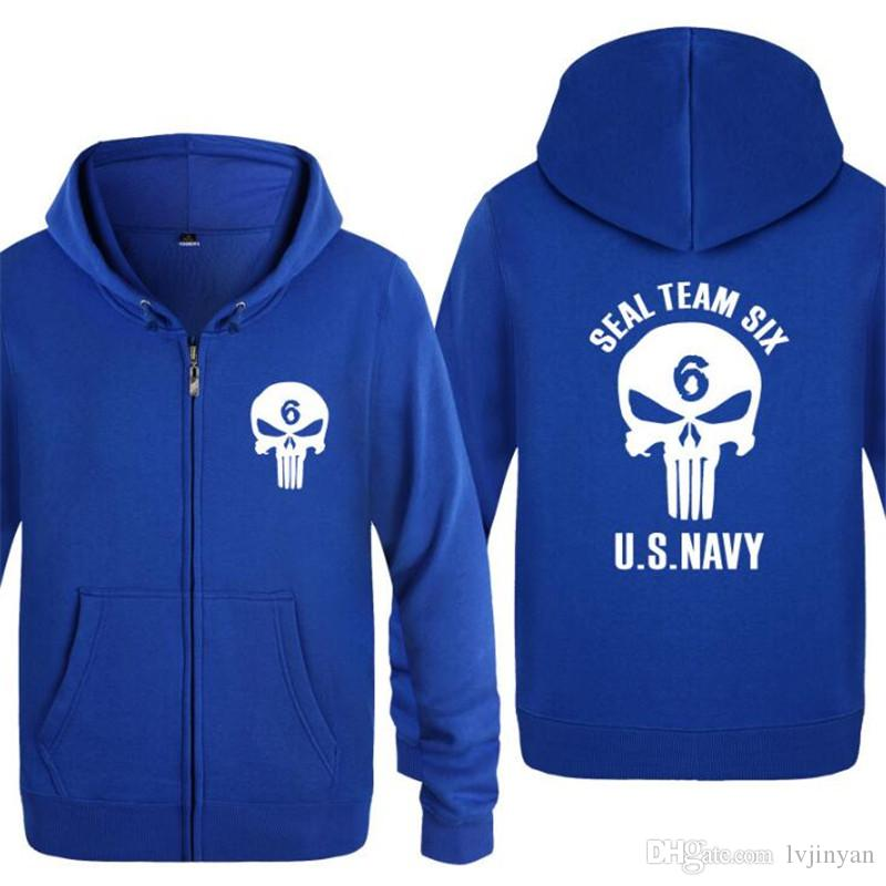 013f31c173 ... Mens Hoodie Seal Team Six US NAVY Printed Hoodies Men Hip Hop Fleece  Long Sleeve Zipper