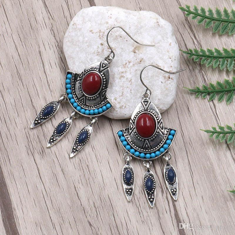 Bohemian ladies fashion new retro tassel pendant earrings designer alloy turquoise jewelry earrings birthday party gift