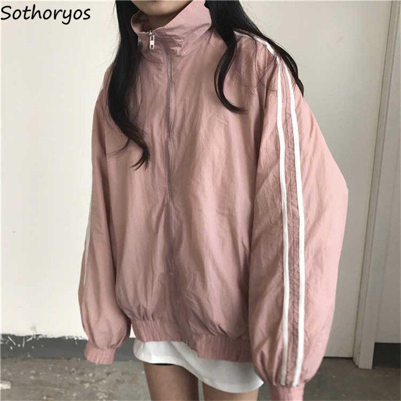 Base Giacche Donna Hip Hop allentato Coppia Clothes Zipper Pockets Harajuku Ulzzang stile coreano delle donne antivento Womens Jacket