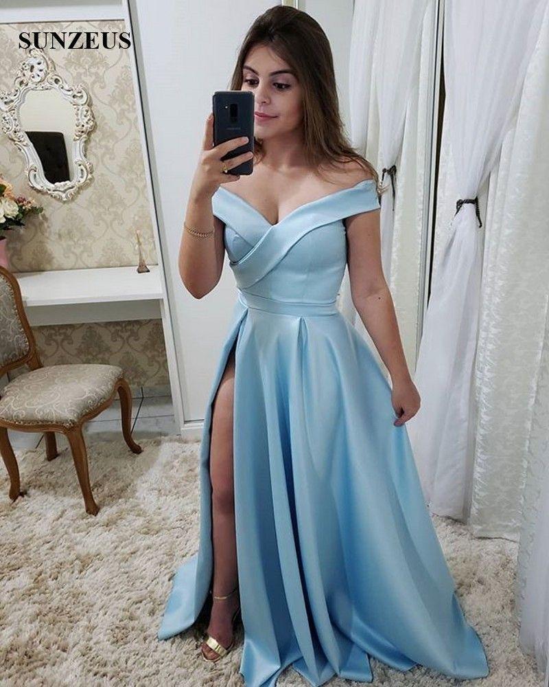 großhandel a line schulterfrei blau kleid prom lange satin frauen party  kleid seitenschlitz einfache elegante abendkleid vestido de festa longo von