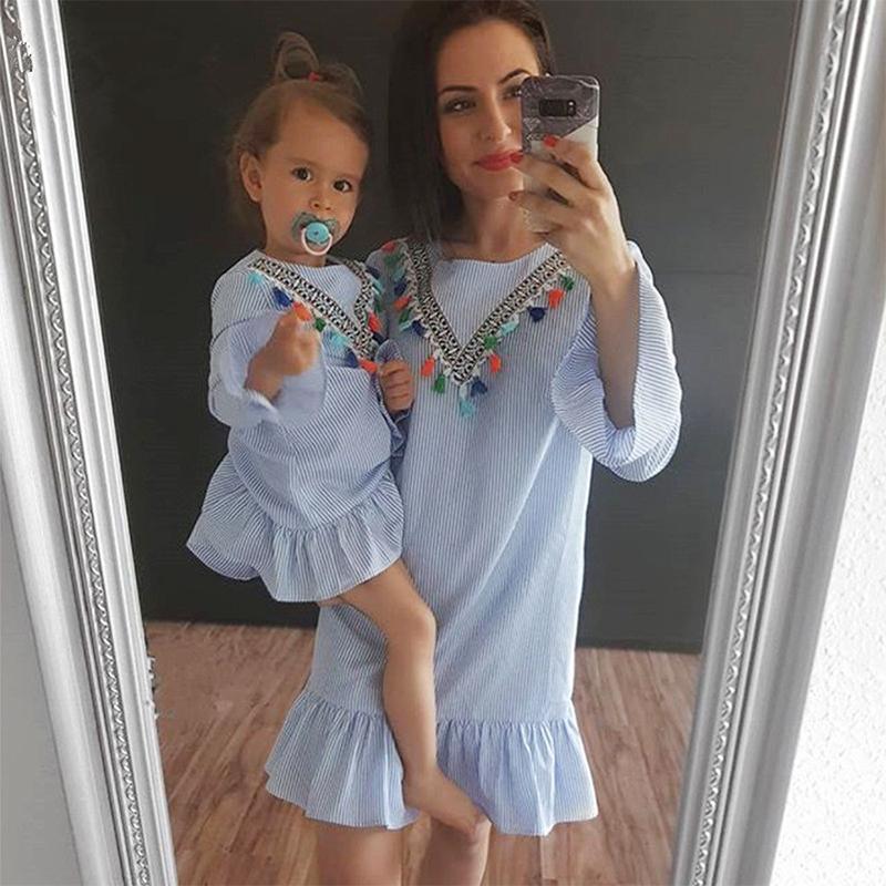 Neonata appena nata della famiglia di corrispondenza vestiti Mamma e figlia Dress Nine Quarter banda nappa Mini madre e figlia Outfits