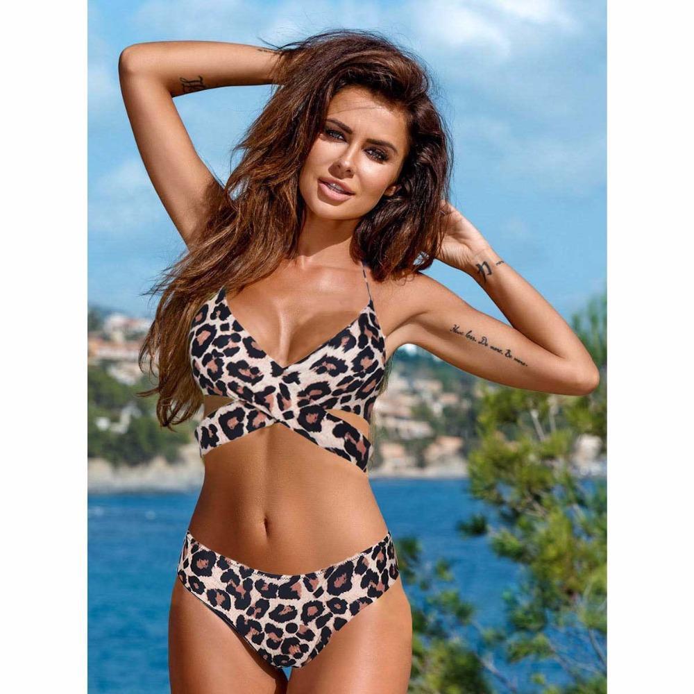 Woman 2pcs Padded Bikini set Floral Leopard Printed Halter Bandage Top+Underwear