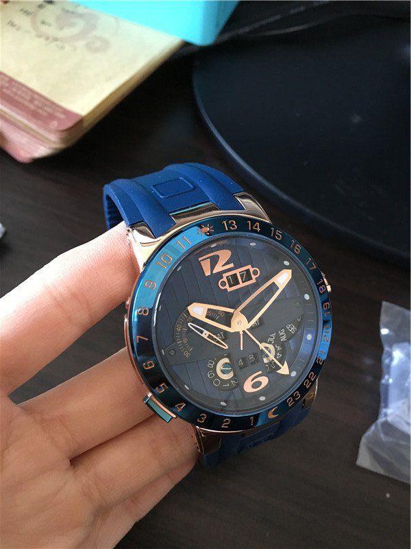 사람이 파란색 고무 시계 기계식 자동 손목 시계 UN13를위한 2016 새로운 도착 최고 판매 새로운 스타일의 시계