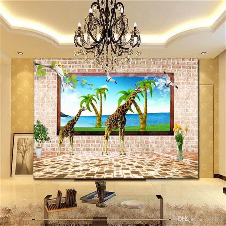 Özel boyut 3d fotoğraf duvar kağıdı oturma odası duvar Zürafa Hindistan Cevizi ağacı Deniz Manzara resim kanepe TV zemin duvar kağıdı dokunmamış duvar sticker