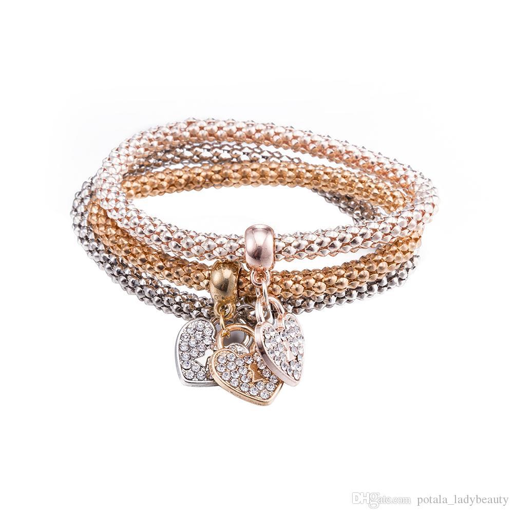 3шт / SET браслет 18K Золотое сердце Key Браслет Diamond Crystal от Swarovski ювелирных подарков Америки Стиль Славной BlingBling Светящегося