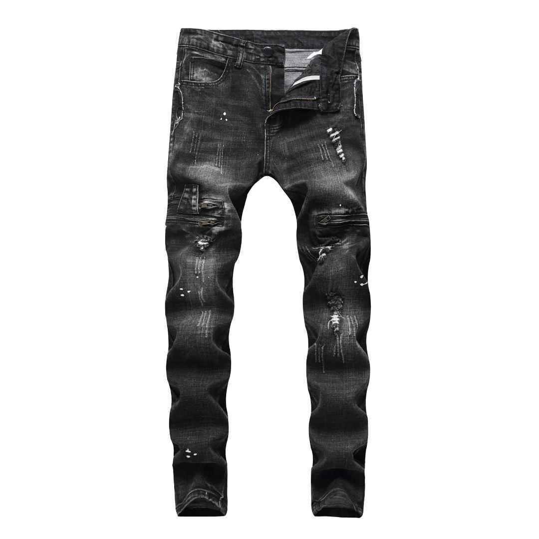 Jean for Men 빈티지 찢어진 구멍 멋진 스키니 바지 2019 봄 여름 캐주얼 Hiphop Pencil Pants 플러스 사이즈