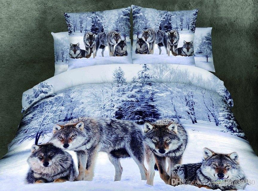 100 Grinding Cotton 3D Boys animal tiger Bedding Sets Wholesale Animal bed set bedding set queen size 4pcs Tiger Wolf Duver Cover Flat Sheet