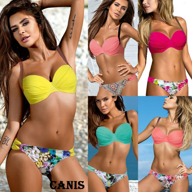 2019 Femmes Sexy Ensembles Bikini rembourré Bandage Soutien-gorge Fleurs Slip 2Pcs maillot de bain femme Maillot de Bain Mode Beachwear