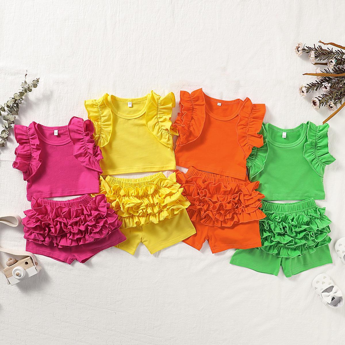 los niños ropa de niñas trajes infantiles mangas con volantes tapas + shorts 2pcs / set de moda de verano 2020 Boutique bebé sistemas de la ropa Z0582