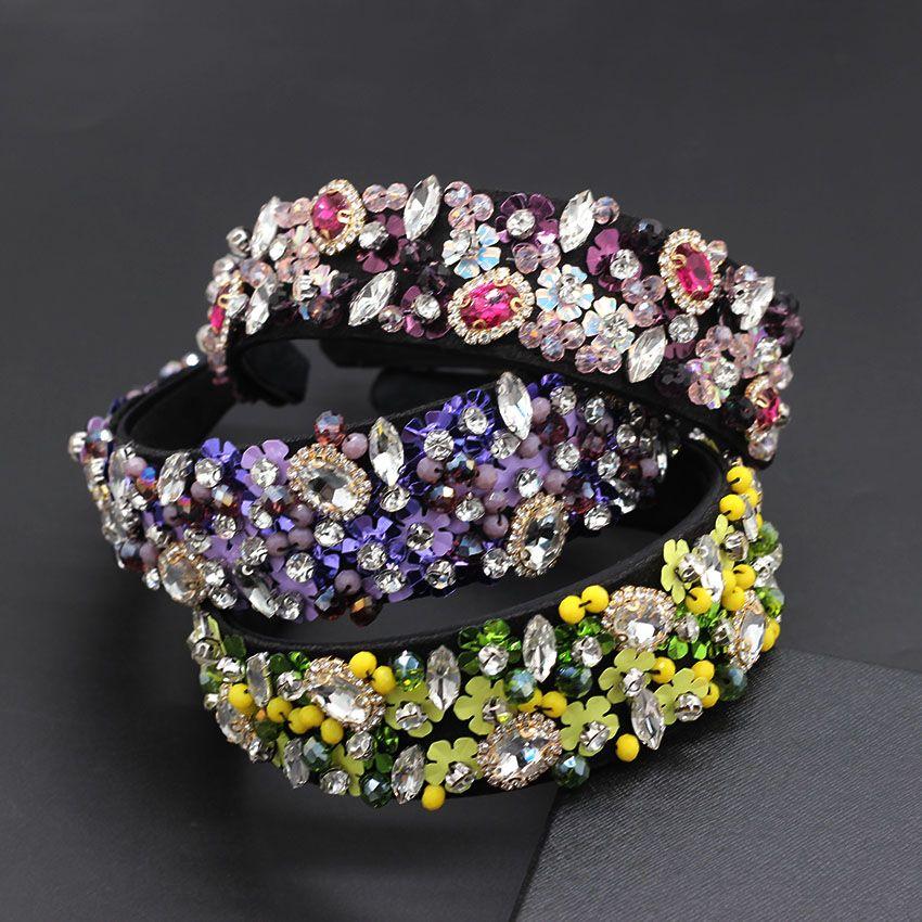 el trabajo pesado de lujo barroco exagerado temperamento salvaje diamantes de imitación diadema de lujo exagerado venda de la manera 729