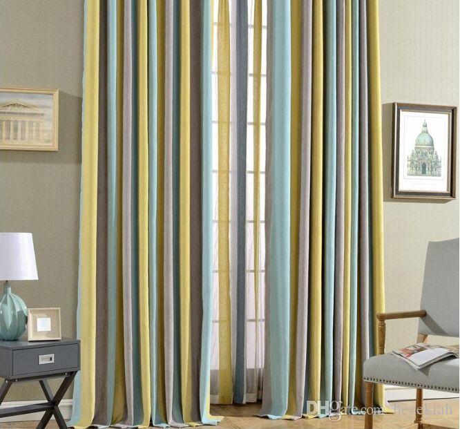 Einfache moderne Chenille Vorhang fertig Wohnzimmer Boden Shading Schlafzimmer gestreifter Vorhang Tuch Prinzessin Stil