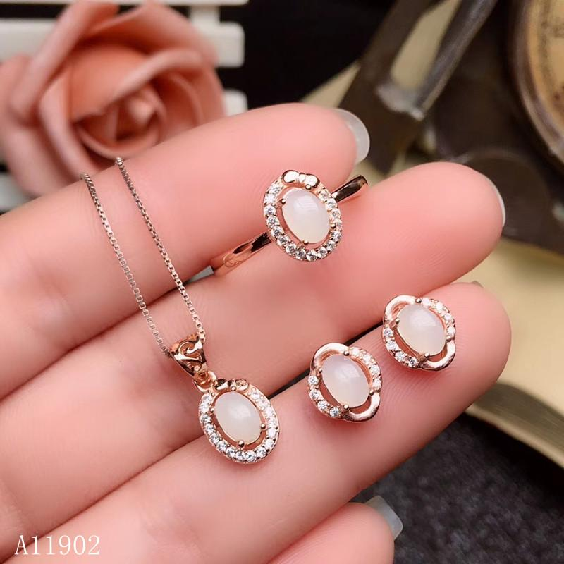 KJJEAXCMY boutique jewels 925 sterling silver inlaid natural gemstone white jade ladies ring necklace pendant earrings set suppo