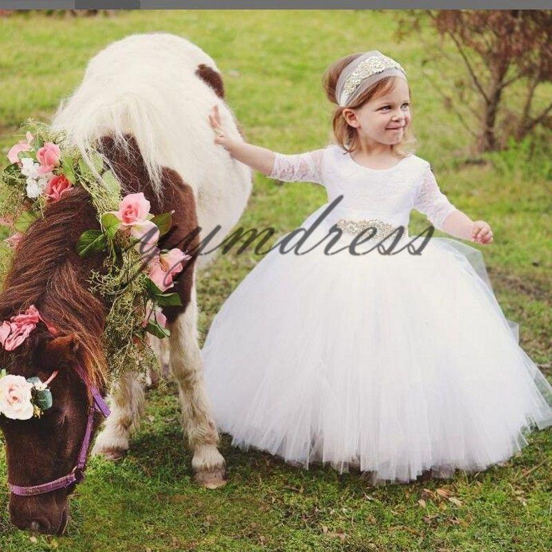 White Flower Girls' Dresses First Communion Dress For Girls Scoop Zipper BackTulle Ball Gown Kids Pageant Dresses