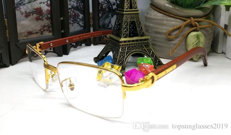 2019 클리어 렌즈가 상자 Lunettes 갖춰져 목재 안경 프레임 남성 패션 스포츠 선글라스 흰색 버팔로 호른 안경 선글라스