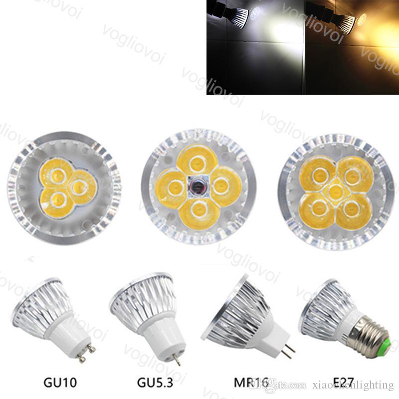 Ampoules LED E27 MR16 Haute Puce de puissance 3W 4W 5W 85 ~ 265V DC12V Spot Spot Downlight White Aluminium PC Couvercle pour la décoration murale de la table d'intérieur