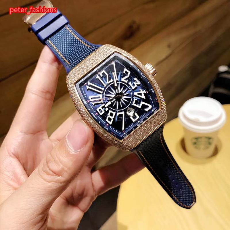 de alta qualidade relógio de forma de diamante automática relógio mecânico tipo tonneau caso diamante azul de couro fino dos homens pulseira