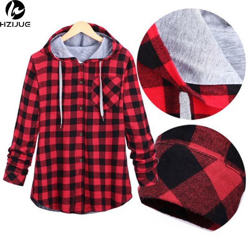 HZIJUE Women Casual Red Plaid Shirt mit Kapuze langärmliges England Hemd übersteigt Männer Harajuku schwarze karierte Bluse Paar Kleidung Y200104