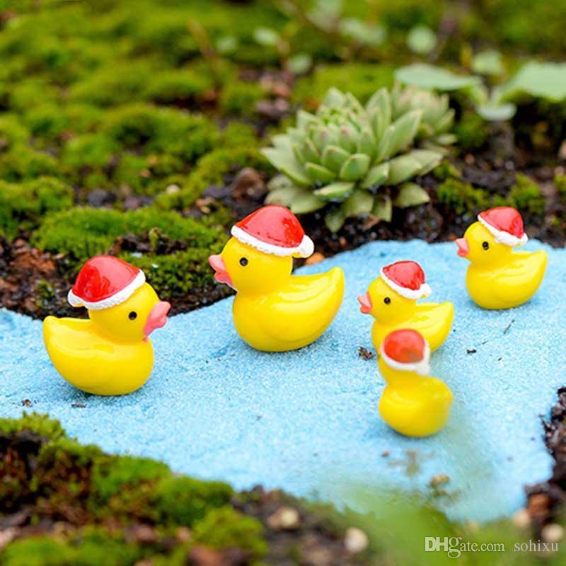 2020 Christmas Duck Resin Crafts Terrarium Figurines Resin Fairy