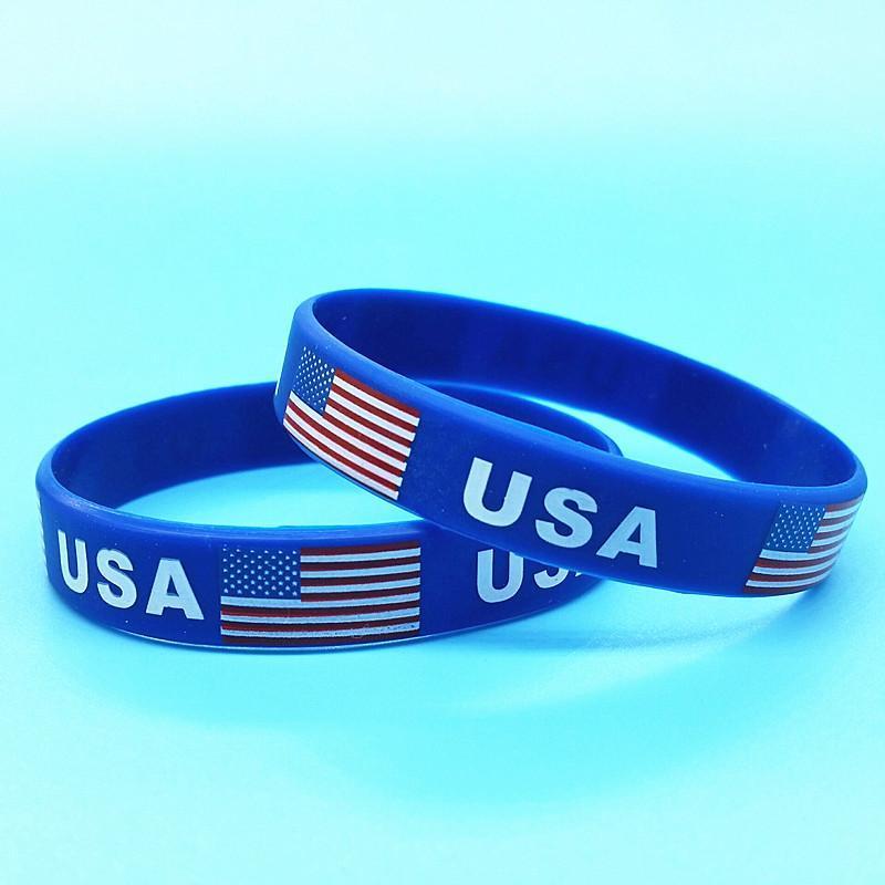 Presentes 1000pcs bandeira dos EUA Desporto Silicone Pulseira americano ID de borracha pulseiras homens Wrist Strap Bangles Acessórios Outdoor