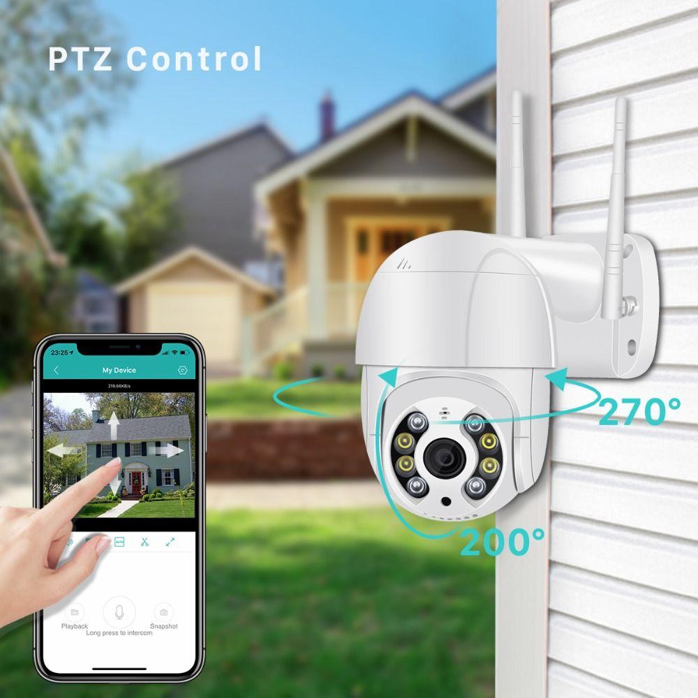 WIFI 1080P Home Security Kamera HD Outdoor Wasserdichte PTZ-Kamera Human Erkennung Farbe Nachtsicht Audio-Talk CCTV-Überwachung P2P IP-Kamera
