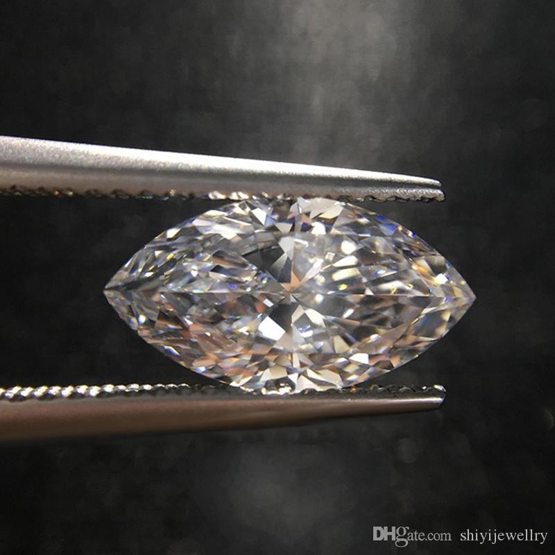 Navette Diamant 0,1ct 2,5mm x 4,6mm D-F Natürlicher Marquise IF-VVS