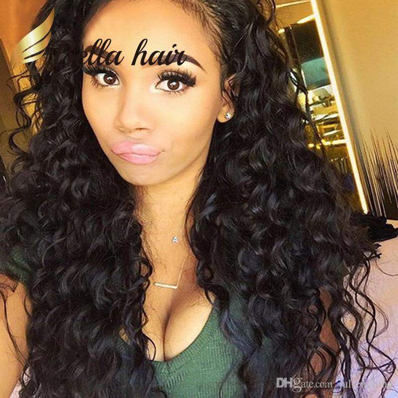 Deep Wave Full Lace Wig 360 Brazilian Curly Virgin Hair Wigs 100% Human Lace Front Wig Bella Hair Factory Outlets