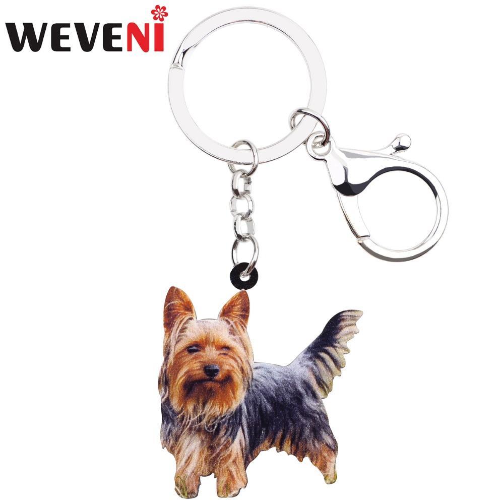 ewelry Accessoires WEVENI Acrylique Clin d'oeil Yorkshire Terrier chien Porte-clés animaux Porte-clefs pour les femmes fille Mesdames support voiture Charms clés ...