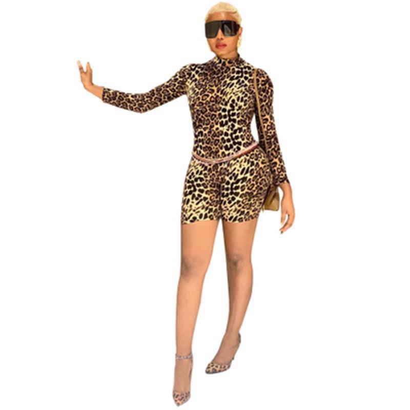 كم الخريف المدورة ليوبارد Playsuit أزياء المرأة كاملة جاهزة قصيرة رومبير الساخن بيع نمط عموما DM5084G