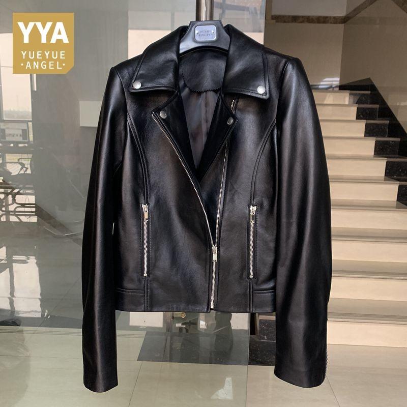 Женская кожаная FAUX 2021 Весна короткий тонкий подходящий мотоцикл куртка женщин 100% овчины настоящие пальто женские подлинные куртки женские