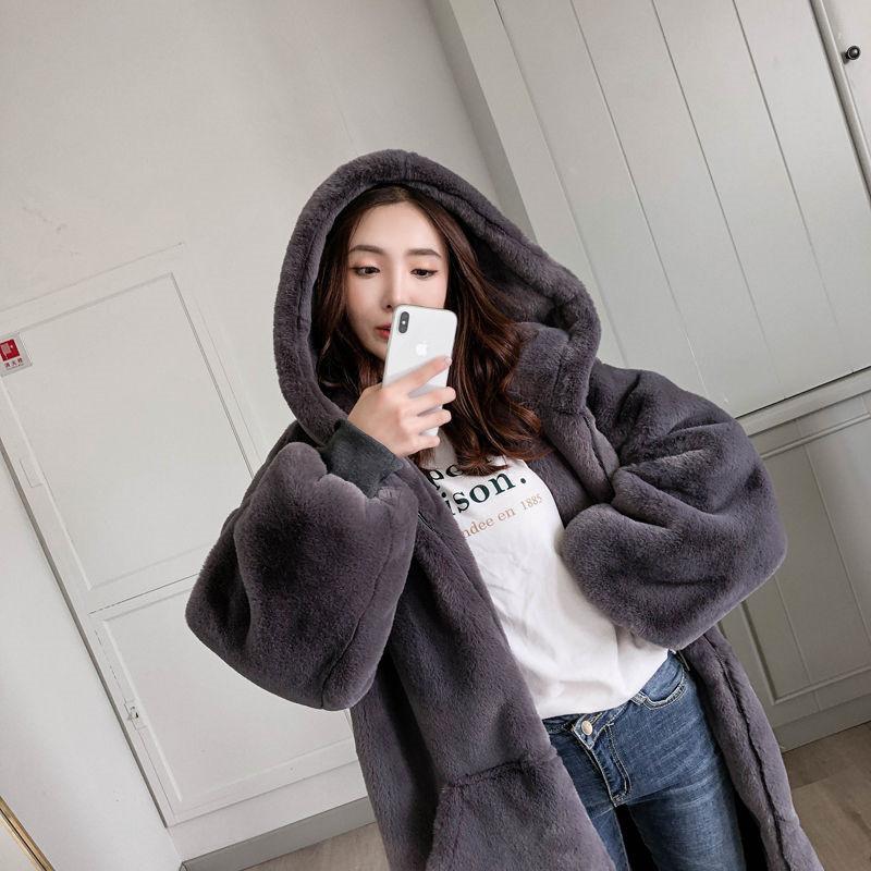 2019 otoño e invierno nueva capa más gruesa de algodón de las mujeres calientes del color sólido de manga larga con cremallera larga encapuchado de la piel del abrigo de pieles