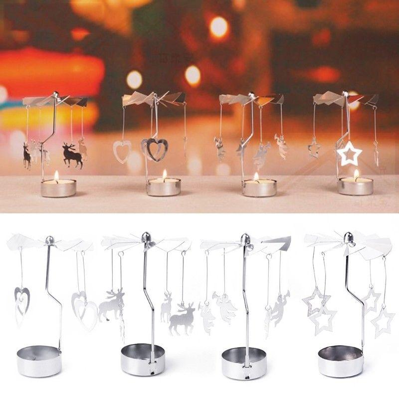 Multi-shape Romantic Spinning Rotary Metal Carousel Light Stand Candle Holder Christmas Decoration Color Sliver
