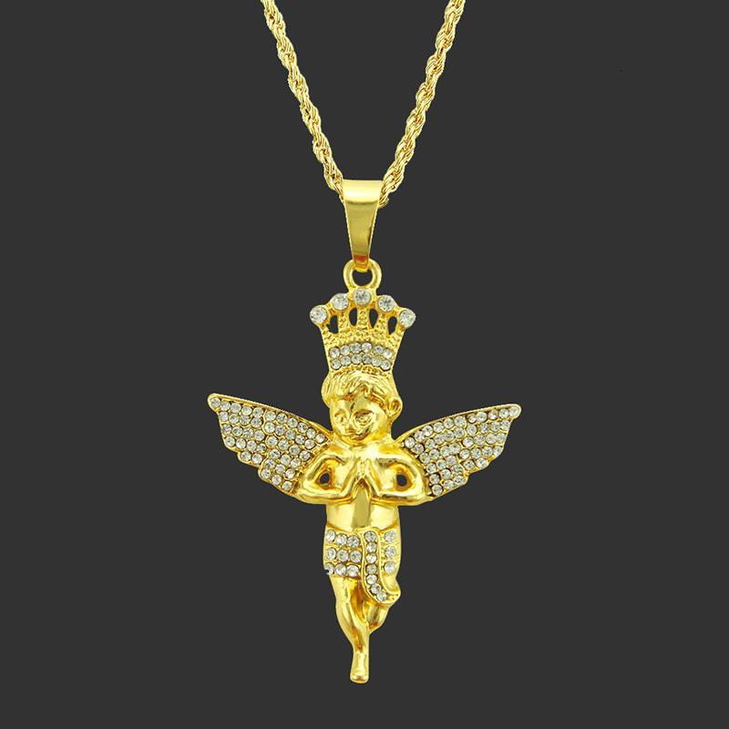 2019 Moda Little Angel Colares Mulheres Homens Hip Hop Jóias longo personalizado corrente de metal colar de ouro Rhinestone