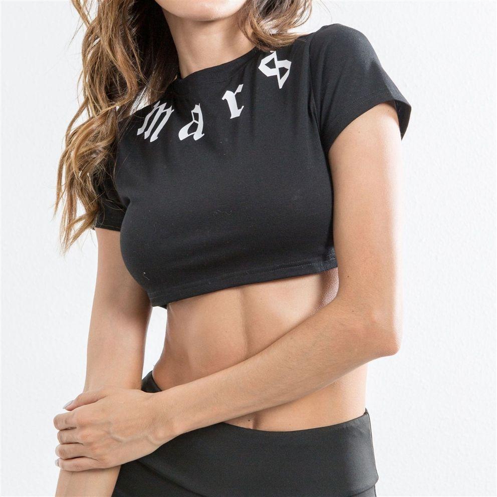 Ladies Sport Crop Tops Printed Tshirt for Yoga Tops Summer Short Sleeve Sport Shirt Women Black Top Fitness Women Gym S-L #556602