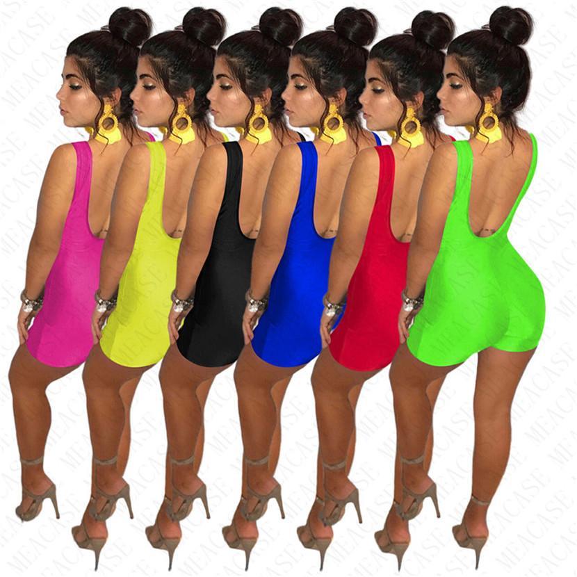 Mulheres negra vive MATTER Macacão Projeto Shorts Tanque Vest geral Verão mangas Romper One Piece Sem Costas Sólidos D61901 Cor Playsuit