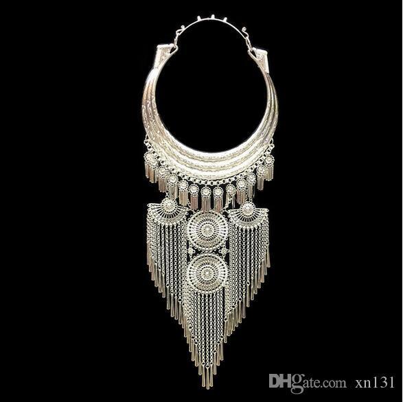 Estilo nacional exagerada colar Miao pingente jóias de prata por atacado grandes colarinho mulheres pingente de mulheres