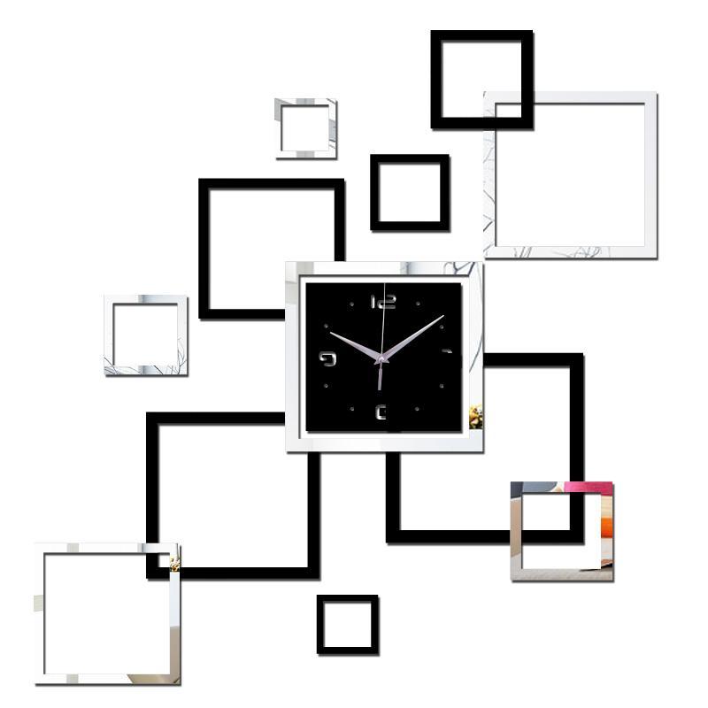 2019 غرفة المعيشة جديدة ساعة الحائط 3d diy الديكورات المنزلية ووتش ووتش murale الكوارتز الاكريليك مرآة ملصقات