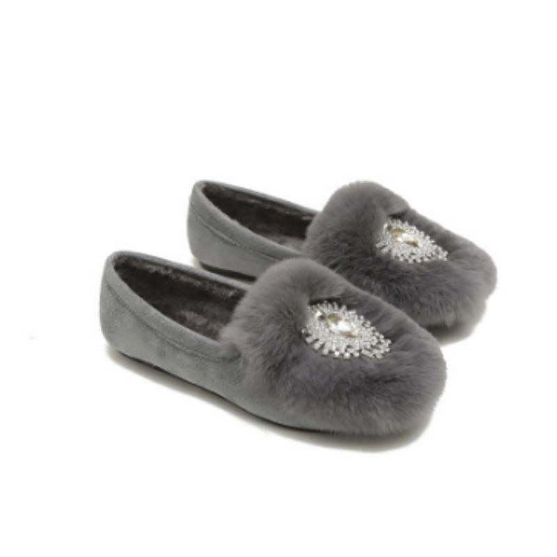 43 34 siyah gri kaliteli taslar ile Femininos İmitasyon kürk kış daireler yuvarlak ayak sürüsü rahat kayma-ons kadife ayakkabılar