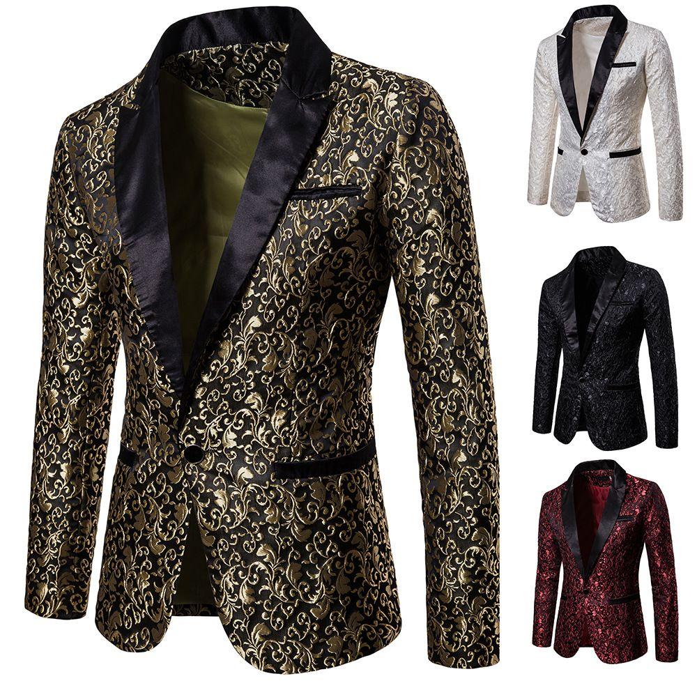En stock Jacquard Weave Hommes Balous costumes cul culmina One Button Bouton Mariage Mariage Mariage pour hommes Stage Costume Blazers Seulement la veste