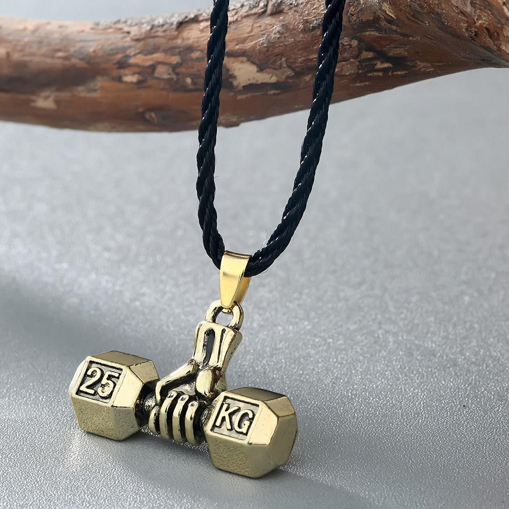 Hantel Halskette männlich Trend Hand Heben Hantel kreativen Stil Anhänger Leder Seil Anhänger Sport-Fitness-Schmuck