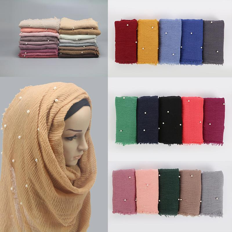 M MISM Ethnic Oversize Muslim Crinkle Hijab Head Scarf Women Solid Bubble Cotton Shawls And Wraps Soft Big Pearl Foulard Femme